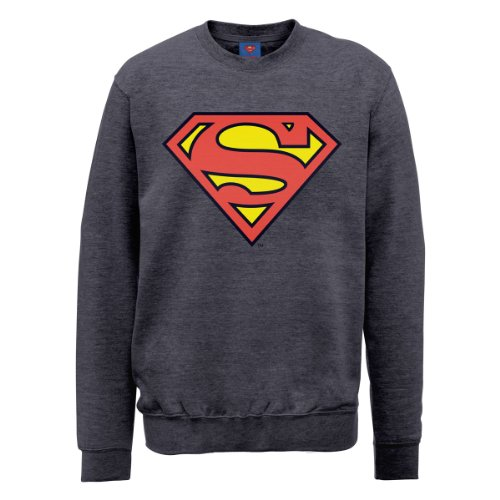 DC Comics DC0000666 Official Superman Shield Sudadera, Gris Acero (Steel Grey), L para Hombre
