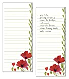 Set of 2- Wild Red Poppies List Pad, Notepad, Shopping List with Attachable Magnet