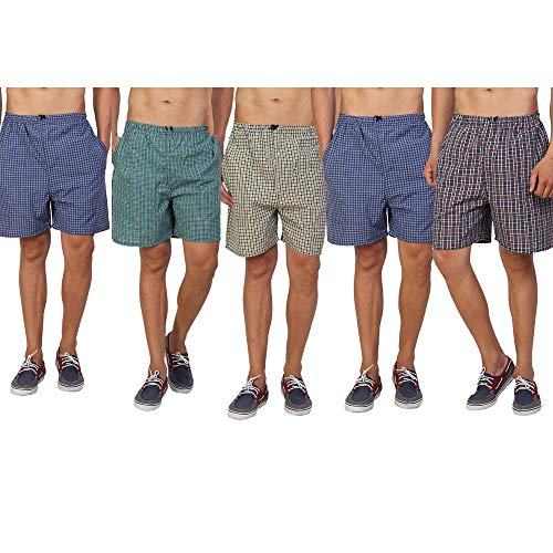 DIGITAL SHOPEE Men's Cotton Shorts Boxers, Pack of 5 (Medium, Multicolour)