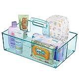 mDesign Caddy mit 2 Fächern für Babysachen – Aufbewahrungsbehälter mit Griff aus Kunststoff – praktischer Tragekorb für Creme, Thermometer, Spielsachen, Babynahrung usw. – blau