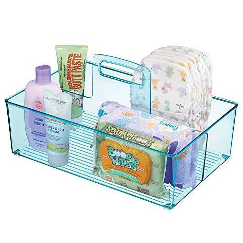 mDesign - Opbergbak - opbergbox/organizer/bergruimte - met handvat/2 compartimenten - voor luiers, kleding, speelgoed en meer - voor babykamer/keuken/slaapkamer/speelkamer - plastic - blauwe tint