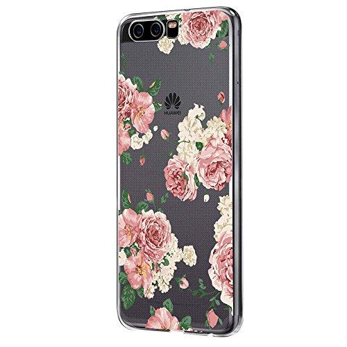 Pacyer Case kompatibel mit Huawei P10 Hülle Silikon Ultra dünn Transparent Handyhülle Huawei P10 Schutzhülle Silikon Rückschale TPU für HUAWEI P10 Cover Rot Blume Mädchen Macaron(Blumen 6)