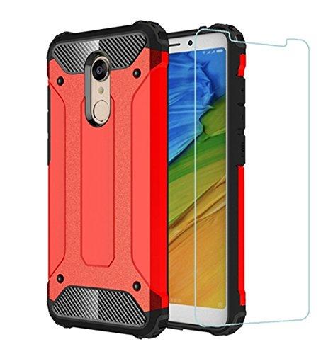 """DESCHE para Funda Xiaomi Redmi 5 Plus(5.99""""), Hard PC Soft TPU 2 en 1 360 Armadura Protectora Funda Resistente a los arañazos a Prueba de Golpes Funda Duradera para teléfono + Vidrio Templado -Rojo"""