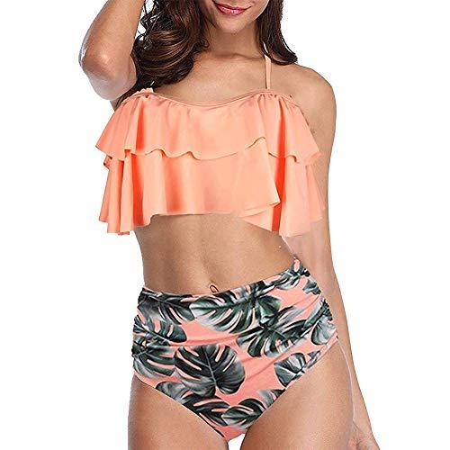 FYMNSI Damen Bikini Set Retro Hohe Taille Rüschen Blumen Drucken Zweiteiliger Tankini Neckholder Push Up GepolstertSchwimmanzug Badeanzug Badebekleidung Strandmode Bademode Orange Gr.52