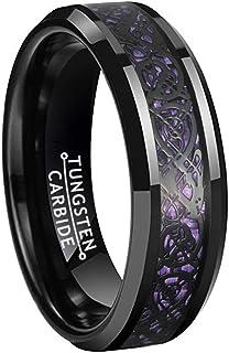 BestTungsten 6mm 8mm Black Tungsten Rings for Men Women Wedding Bands Celtic Dragon Purple/Green/Blue/Red Carbon Fiber Inlay Beveled Edges Comfort Fit