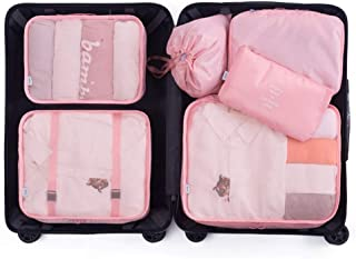 Packing Cubes for Suitcase 6 Pcs Suitcase Organiser Bags Suitcase Travel Organiser Waterproof Packing Organizers for Luggage QDDSP (Color : E)