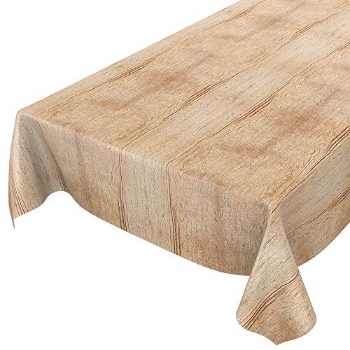 ANRO Wachstuch Tischdecke abwaschbar Wachstuchtischdecke Wachstischdecke Holz Beige Braun 200x140cm