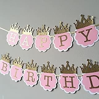 Party Propz Princess Glitter Happy Birthday Crown Banners (Pink & Golden)