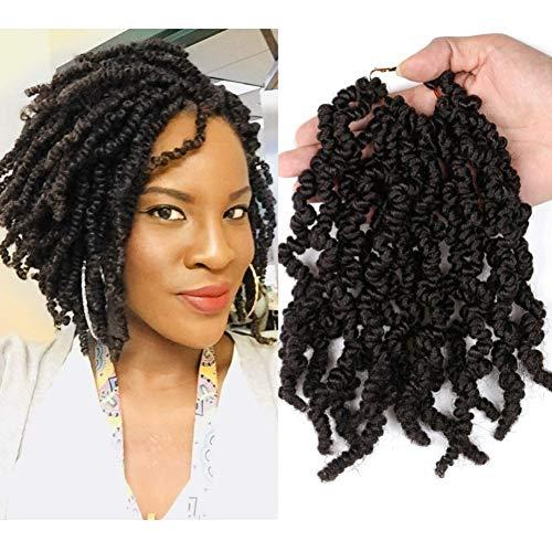 Mostfar Lot de 6 paquets de 20,3 cm pré-bouclées au crochet - Tresses courtes, bouclées pré-torsadées - Extensions de cheveux synthétiques pour femme noire (1B#)
