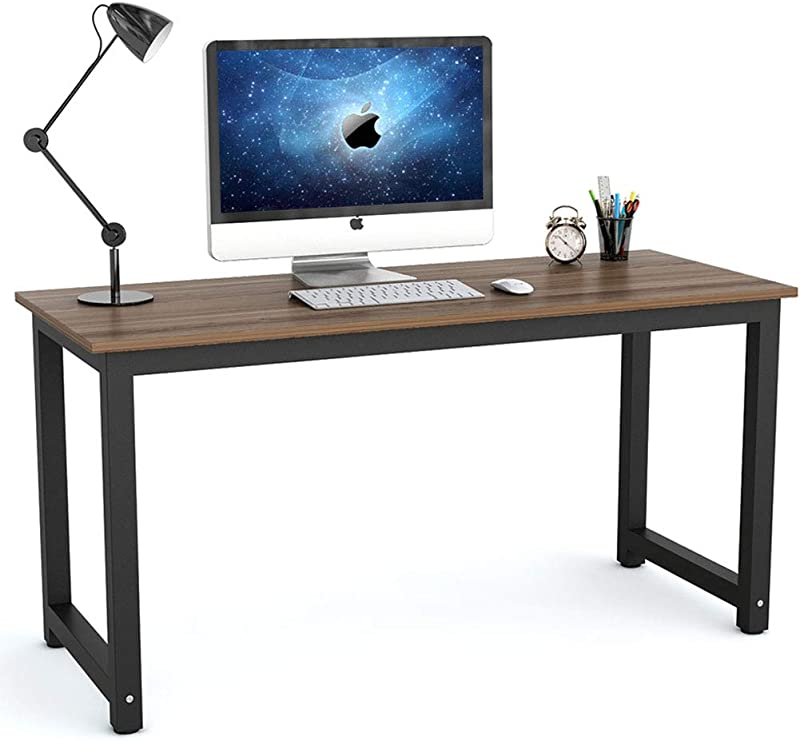 Tribesigns Modern Computer Desk 55 Inch Large Office Desk Computer Table Study Writing Desk For Home Office Dark Walnut Black Leg
