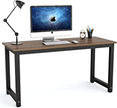 Tribesigns Modern Computer Desk, 55 inch Large Office Desk Computer Table Study Writing Desk for Home Office, Dark Walnut + Black Leg