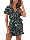 Relipop Summer Women Short Sleeve Print Dress V Neck Casual Short Dresses (Medium, T7)