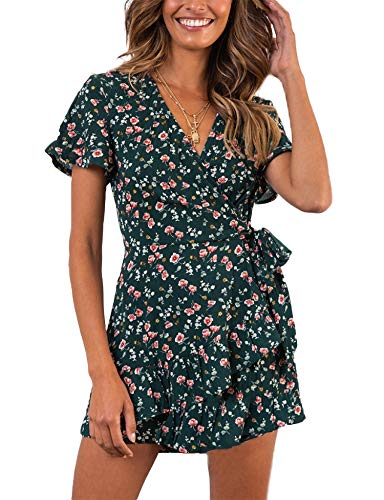 Relipop Summer Women Short Sleeve Print Dress V Neck Casual Short Dresses (Medium, T7)