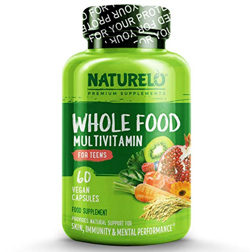 NATURELO Whole Food Multivitamin for Teens - Natural Vitamins & Minerals for Teenage Boys & Girls - Best Supplement for Active Kids - with Plant Extracts - Non-GMO - Vegan & Vegetarian - 60 Capsules