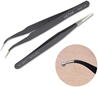 COMIART 2pcs / Set Muti-funtion Anti-static Elbow and Straight Stainless Steel Tweezer Cake Plier Sugarcraft Tool for Kicthen Bakeware Decoration