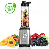 BESTEK Mini Blender Multifonctionnel Machine à Jus Portable Mixeur Fruit Appareil à Smoothie (Compote, Glace pilée, Milkshake, Fruits à Coque) avec Gobelet 600ml Sans BPA 350W