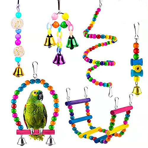 CATTY 6 Piezas Juguete para Loros, Juguetes para Masticar Loros, Columpios Pájaros Juguetes, para Periquitos, Cacatúas, con Soporte Colgante de Madera, Jaula de Escalera, Campana Colgante de J