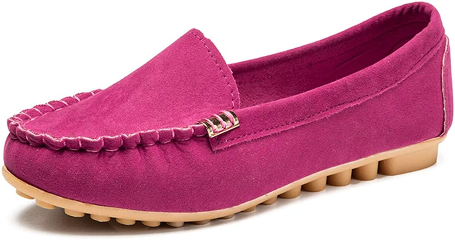 T-JULY Ladies Suede Loafers Solid Women Casual Leisure shoes Breathable Flats Soft Rubber Sole Round Toe Shallow shoes