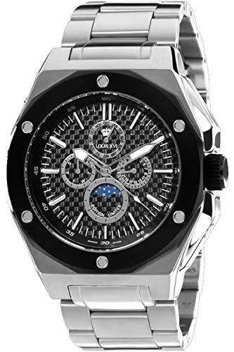 LOUIS XVI Herren-Armbanduhr Le Souverain Stahlband Silber Karbon Mondphase Analog Quarz Edelstahl 568