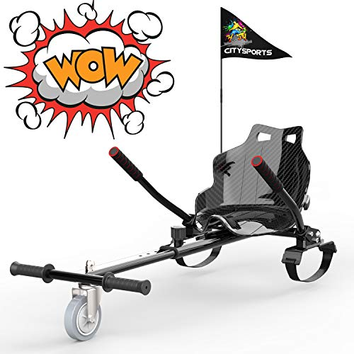 GEARSTONE Hoverkart für Hover Board, Sitzscooter Gokart hovercart, Sitz für Self Balancing Scooter, passt 6,5zoll 8,5zoll und 10 Zoll Hoverboards (Carbon Black)