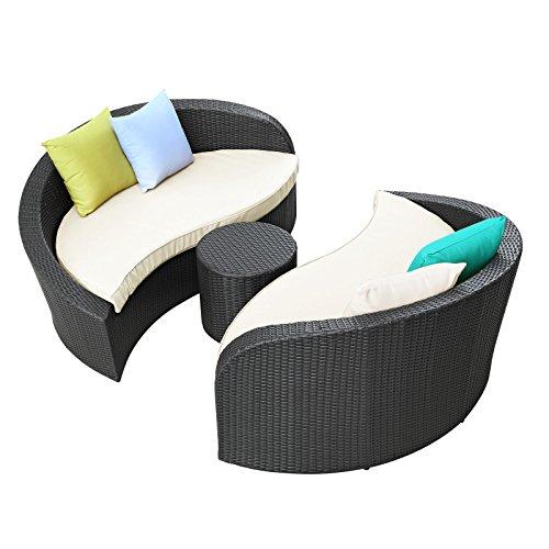 Hot Sale LexMod Twirl Outdoor Wicker Patio 3 Piece Sofa Set