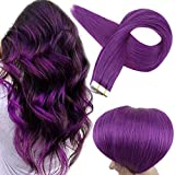 Full Shine Human Tape Hair Extensions Double Sided Real Hair Tape in Extensions Purple Seamless Glue in Hair Straight 24Inch 10Pcs Remy Brazilian Cabello Humano 25Grams