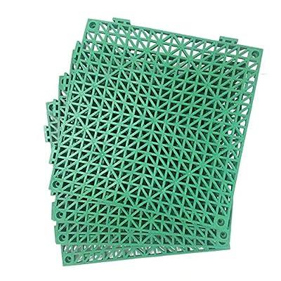 "4pcs Modular Interlocking Cushion 11.5"" x 11.5"" Floor Tile Mat Mats Drain Pool Shower Home Indoor/Outdoor (Green)"