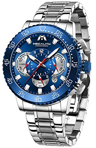 MEGALITH Reloj Hombre Plata Cronografo Hombre Acero Inoxidable Elegante Relojes de Pulsera Esfera Azul Impermeable Analogico Luminoso