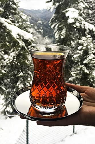 Valentia Juego de té de 12 piezas, Slim Bel Gold, Juego de té turco, Juego de vidrio, Vidrio, Vaso de bebida caliente, Vidrio especial para preservación del calor, Placa de té de metal
