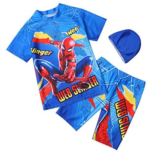 ZYZQ Niños Spiderman Swimsuit Summer Beach Natación Traje de natación Durante 18 Meses-8 años, Pantalones Cortos para niños Mangas con Traje de Neopreno UV Protección UV Guardia Rash,Blue-L