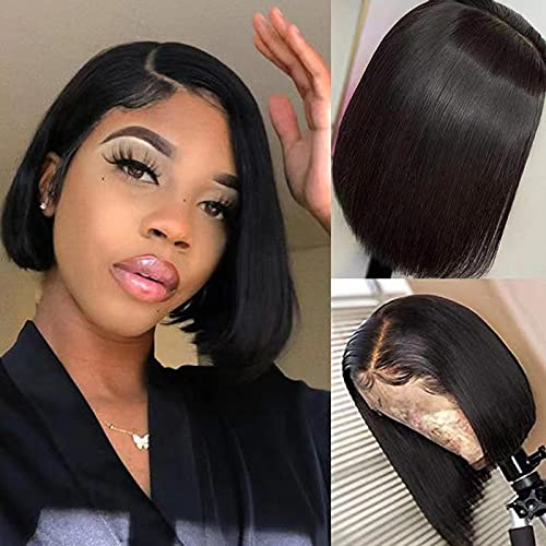 Short Straight Bob Lace Front Wigs Human Hair With Baby Hair 13x4 Brazilian Straight Virgin Human Hair Lace Front Wigs for Black Women Pre Plucked 150% Density(10 Inch, 13x4 Straight Bob Wig)