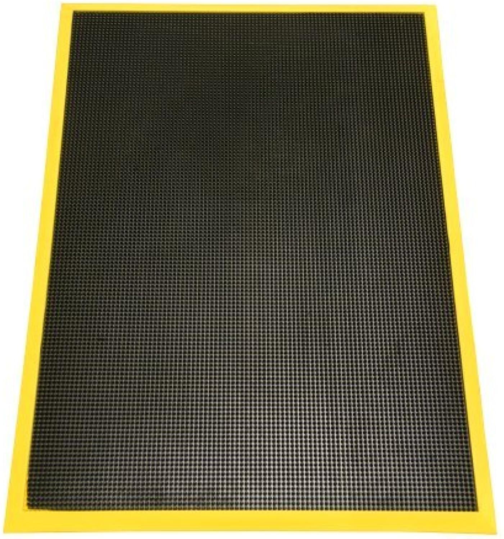 Rubber-Cal Door Scraper Rubber Door Mats - 5 8  Thick x 24inch x 32inch - Yellow Borders Front Doormat