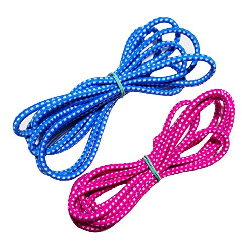 Chinese Jump Rope for Kids - Elastic Fitness Game - Knotted Loop - by B&D Supply (Pink - Blue, 8ft (2 Pack))