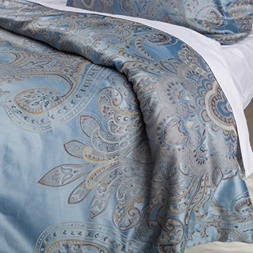 Luxurious Duvet Cover Sets Cotton Rich Silky Woven Jacquard Breathable Stain and Fade Resistant Hypoallergenic Memories of Italy (Positano, Queen)