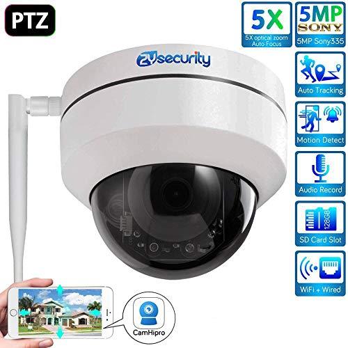 Crazy rice 5MP WiFi Dome PTZ cámara de vigilancia de vídeo en Red, al Aire Libre 5X Zoom óptico H.265 Onvif cámara IP de Metal
