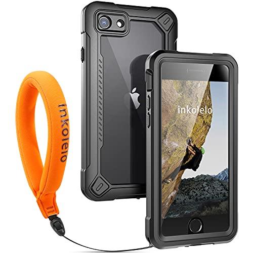 Custodia Impermeabile iPhone 7/8/SE[versione 2020] Cover IP68 Certificato Waterproof Protettiva Caso Antiurto Subacquea Custodie con [Cinturino Galleggiante] per iPhone 7/8/SE2 (nero opaco/arancione)