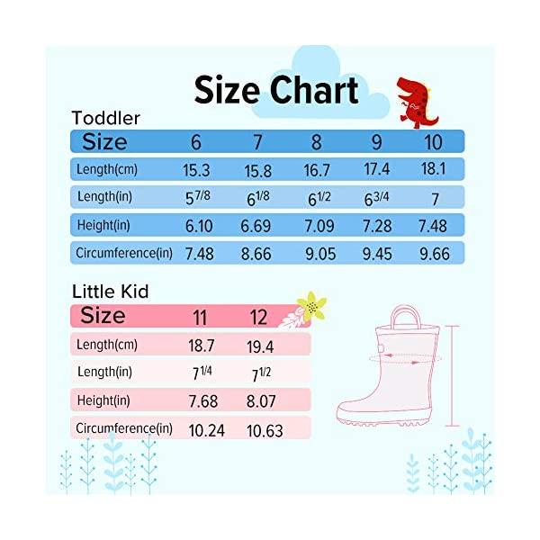 OutdoorMaster Kids Toddler Rain Boots BPA-Free Easy Pull-On Handle for Boy Girl
