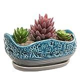 MyGift Turquoise & Gray Clover Design Ceramic Flower Plant Pot/Decorative Centerpiece Planter with Saucer