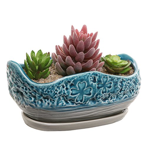 MyGift Turquoise & Gray Clover Design Ceramic Flower Plant Pot/Decorative Centerpiece Planter with Saucer