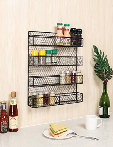 IZLIF Wall Mounted Spice Rack Organizer for Cabinet Pantry Door Kitchen Large Hanging Spice Shelf 4 Tier Chicken Wire Spices Bottle Holder,Black