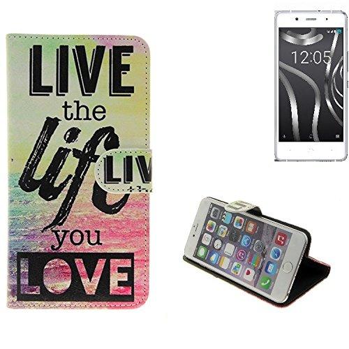 K-S-Trade® Schutzhülle Für BQ Readers Aquaris X5 Plus- Schutz Hülle 360° Wallet Case ''live Life Love'' Schutzhülle Handy Tasche Handyhülle Etui Smartphone Flip Cover Standfunktion (1x)