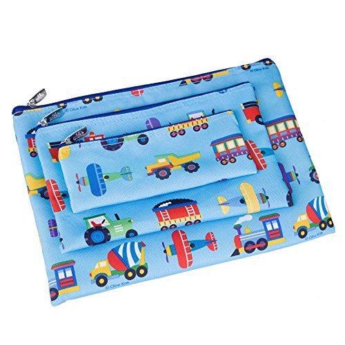 Wildkin Kids 3 Piece Zippered Organizer for Boys and Girls, Perfect Size for Packing School Supplies and Travel Essentials,600-Denier Polyester Fabric Organizer Set, Olive Kids(Trains Planes & Trucks)
