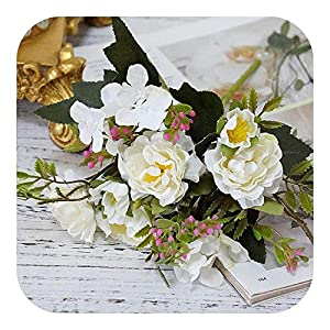 Silk Flower Arrangements Baby Breath Flowers Artificial, Artificial Rose Silk Bouquet Small Peony Fake Faux Wedding Home DIY Decoration Valentine's Day,White
