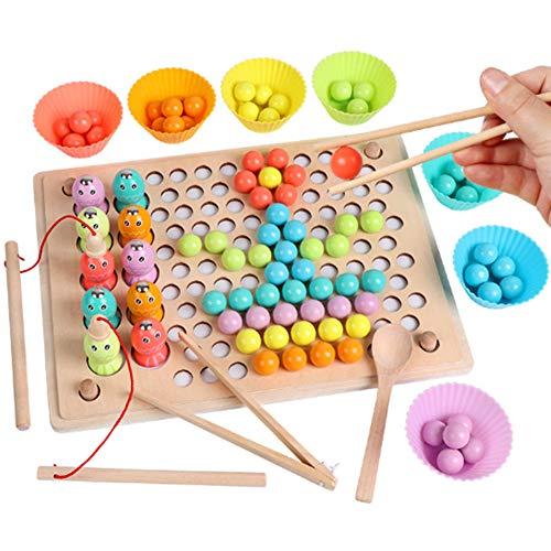 Houten speelgoed magnetische vissen games, digitale kleuren voorschoolse bordspellen, 345-jarig meisje verjaardag jongen kind leren -22,5 * 30 * 1,2 cm