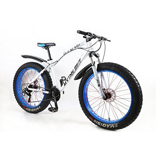 MYTNN Fatbike 26 Zoll 21 Gang Shimano Fat Tyre 2020 Mountainbike 47 cm RH Snow Bike Fat Bike (Weiße Rahmen/Blaue Felgen)
