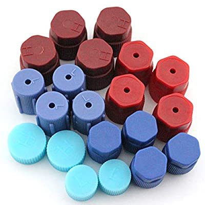 20Pcs/Set R134a/R12 13mm & 13.5mm & 14mm & 16mm &17 & 17.5mm Air Conditioning Service AC System Charging Port Caps (4Pcs for each type)