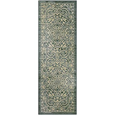Maples Rugs Runner Rug, [Made in USA][Pelham] 2' x 6' Non Slip Hallway Entry Area Rug for Living Room, Bedroom, and Kitchen - Light Spa