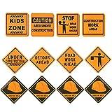 Blue Panda - Lote DE 16 señales de construcción, Accesorios para Fiestas de cumpleaños, Zona de construcción, Decoraciones de Fiesta para niños, diseños Surtidos, 30,5 x 30,5 cm.