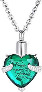 HooAMI Heart Cremation Urn Necklace for Ashes Urn Jewelry Memorial Pendant with Fill Kit - Always on My Mind Forever in My Heart