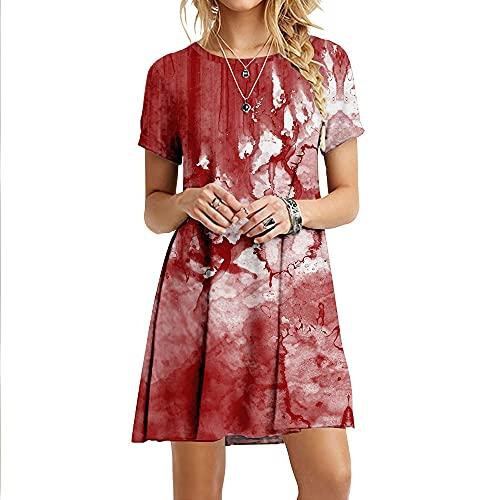 Mujeres Suelto Vestido,Mujeres Vestidos Suave Cómodo Rojo Abstracto Tie Dye Impresión 3D Manga Corta Talla Grande Maxi Vestido Swing Falda Fiesta De Verano Bata De Todos Los Días Vestidos Largos